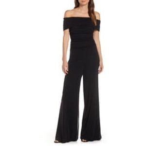 Eliza J Ruched  Off the Shoulder Mesh Jumpsuit